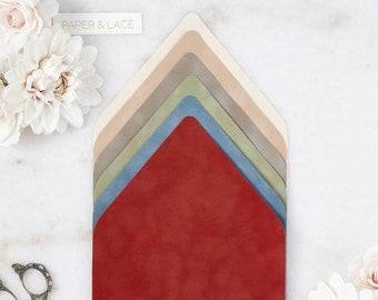 Velvet Envelope Liners - A7 Euro Flap Liner - Suede Envelope Liners - Earth Tone Colors -Champagne, Camel, Mushroom, Sage, French Blue, Rust