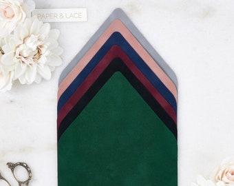 Velvet Envelope Liners - A9 Euro Flap Liner - Suede Envelope Liners - Classic Colors -Emerald, Black, Wine, Navy, Dusty Rose, Chrome