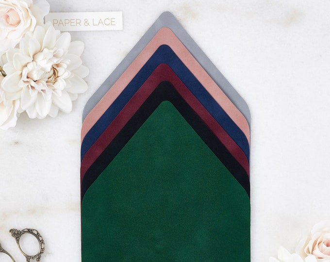 Featured listing image: Velvet Envelope Liners - A7 Euro Flap Liner - Suede Envelope Liners- Classic Colors -Emerald, Black, Wine, Navy, Dusty Rose, Chrome