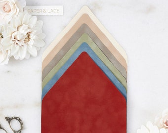 Velvet Envelope Liners - A9 Euro Flap Liner - Suede Envelope Liners - Earth Tone Colors -Champagne, Camel, Mushroom, Sage, French Blue, Rust