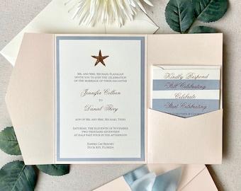 JENNIFER Peach Blush & Dusty Blue Trifold Pocket Invitation w/ Rose Gold Foil Starfish- Wedding Invitation Suite w/ Rose Gold Foil Printing