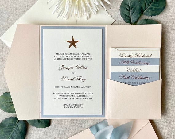 JENNIFER Peach Blush & Dusty Blue Trifold Pocket Invitation w/ Rose Gold Foil Starfish- Wedding Invitation Suite w/ Rose Gold Foil Printing