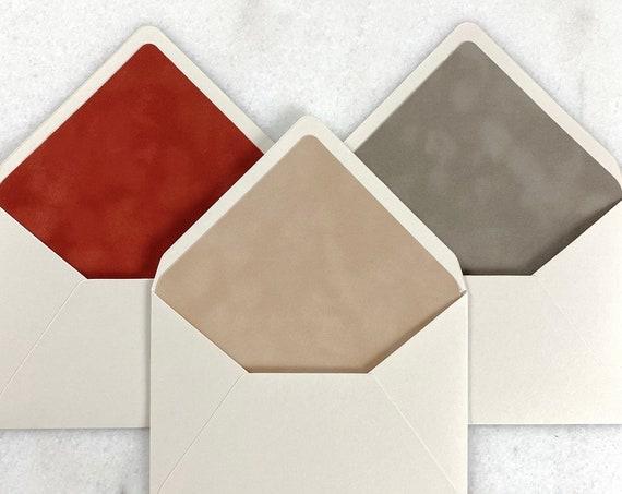 Velvet Lined Envelopes in Nude-Rust-Mushroom - Suede Envelope Liners - A7 Euro Flap Envelope w/ Velvet Liner - Wedding Invitation Envelopes