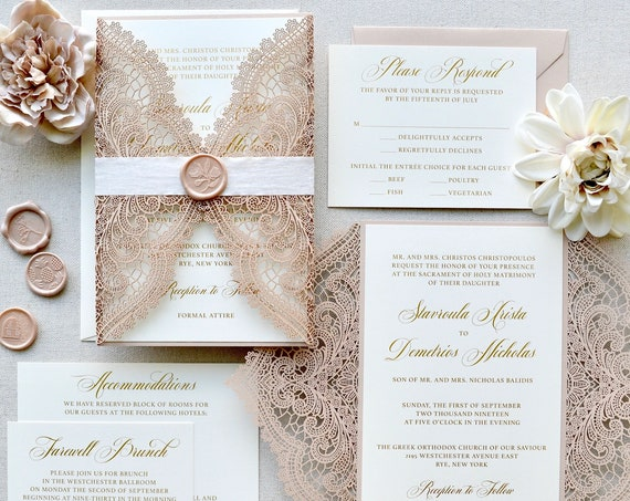 STAVROULA - Nude Pink Shimmer Laser Cut Wedding Invitation Suite with Gold Foil Printing on Matte Ivory Card Stock - Blush Wedding Invite