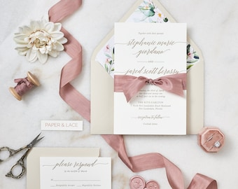 STEPHANIE - Letterpress Wedding Invitation - Double Thick 100% Cotton Pearl White Card Stock with Rose Silk Ribbon and Floral Envelope Liner