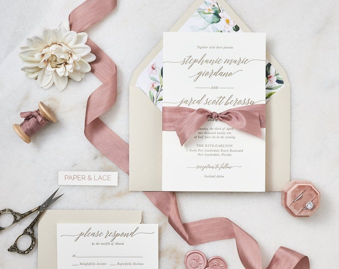 Featured listing image: STEPHANIE - Letterpress Wedding Invitation - Double Thick 100% Cotton Pearl White Card Stock with Rose Silk Ribbon and Floral Envelope Liner