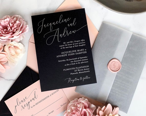 JACQUELINE- Metallic Silver Ink on Black Wedding Invitation - Modern Wedding Invitation Suite with Vellum Jacket and Blush Wax Seal