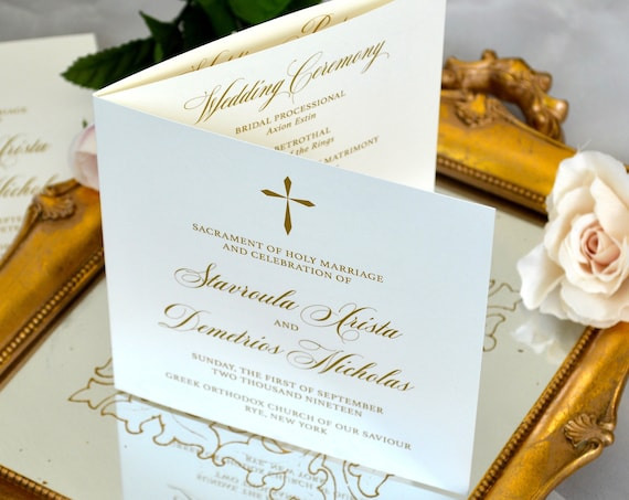6 Page Tri-fold Wedding Program with Digital Metallic Gold Ink - Ivory and Gold Wedding Ceremony Program - Church Program - Folding Program
