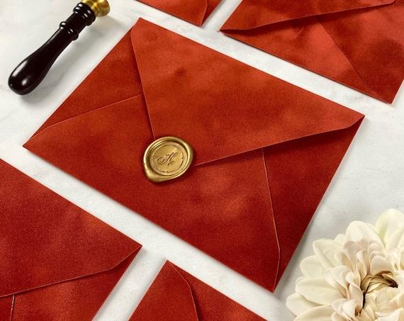 RUST - Velvet Envelope - Suede Envelope - A7 Euro Flap Envelope - Wedding Invitation Envelope - Burnt Orange