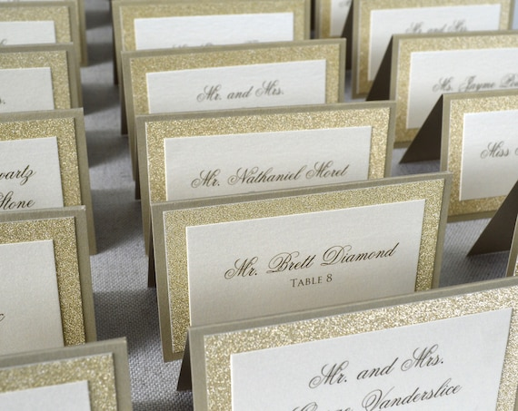 Gold Sparkle Place Cards - Tented Escort Cards - Custom Placecard for Wedding, Sweet 16, Quinceañera, Bridal Showers with Glitter Border