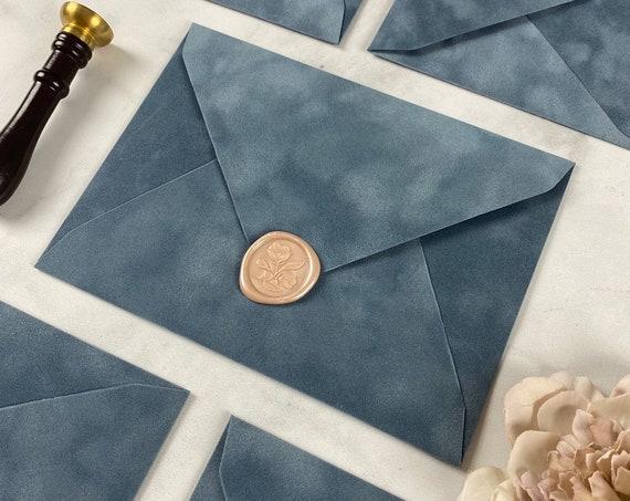 FRENCH BLUE - Velvet Envelope - Suede Envelope - A7 Euro Flap Envelope - Wedding Invitation Envelope - Dusty Blue - Steel Blue