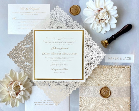 JILLIAN - Ivory Chantilly Lace Laser Cut Wedding Invitation with Gold Foil Printing, Vellum Belly Band and Gold Wax Seal- Square Invitation