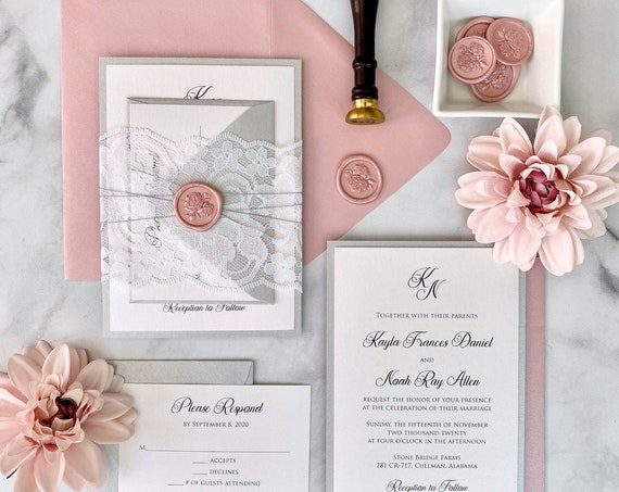 KAYLA- White Lace Wedding Invitation with Blush Peonies Wax Seal - White and Silver Shimmer Card Stock with Misty Rose Envelopes