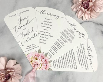 4 Petal Fan Program in White with Blush Flowers and Faux Silk Ribbon in Pink - Wedding Program for Outdoor Ceremony