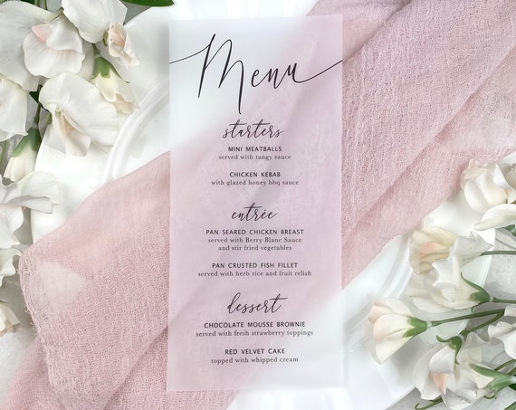 Vellum Wedding Menu - Black Ink on Translucent Vellum Paper - Custom Menu - Dinner Menu Card
