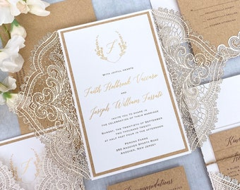 FAITH - White Chantilly Lace Laser Cut Wedding Invitation with Kraft Border, Gold Foil Printing, Laser Cut Back Pocket, and Twine
