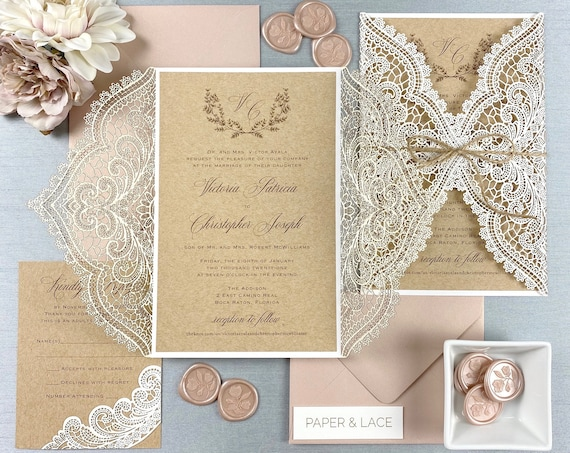 VICTORIA - White Chantilly Lace Laser Cut Wedding Invitation with Kraft Card Stock Insert and Natural Jute Twine - Burlap and Lace Invite