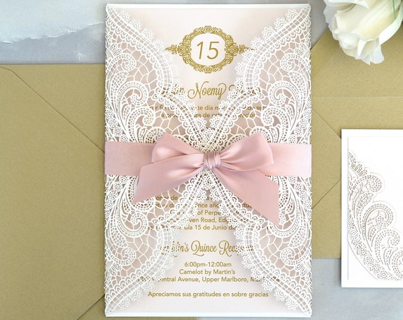 CHANTILLY LACE Laser Cut Quinceañera Invitation - White Laser Cut Gatefold Invitation w/ Pink Blush Card Stock and Ribbon- Sweet 16 Invite