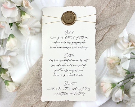 Ivory Wedding Menu with Deckled Edges, Gold Wax Seal, & Gold Twine - Natural Card Stock with Hand Torn Edges- Custom Menu - Dinner Menu Card