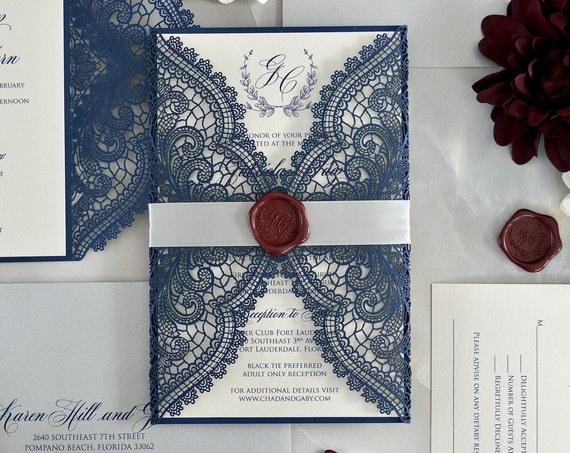 GABRIELA- Navy Chantilly Lace Laser Cut Invitation - Navy Laser Cut Wedding Invite with and Silver Ribbon and Burgundy Monogram Wax Seal