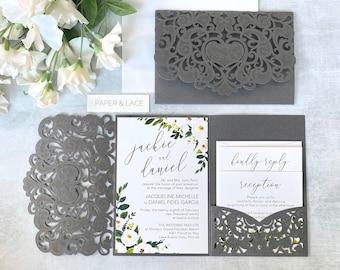 JACKIE Trifold Laser Cut Pocket Invitation - Grey Shimmer Laser Cut Wedding Invitation Suite with White Florals and Side Pocket for Inserts