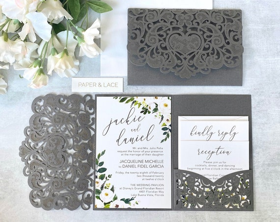 JACKIE Trifold Laser Cut Pocket Invitation - Grey Shimmer Laser Cut Wedding Invitation Suite with White Florals and Side Pocket for Inserts