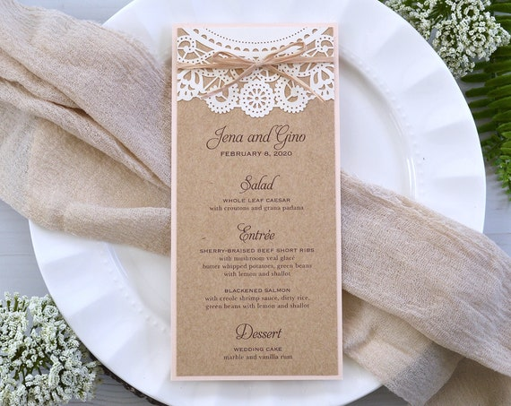 Burlap and Lace Laser Cut Wedding Menu with Raffia Ribbon- Long Dinner Menu with Laser Cut Top