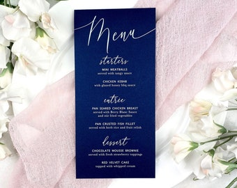 Navy Wedding Menu - White Ink on Navy Shimmer Card Stock - Custom Menu - Dinner Menu Card