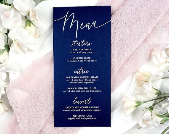 Navy Wedding Menu - White Ink on Navy Shimmer Card Stock - Custom Menu - Dinner Menu Card