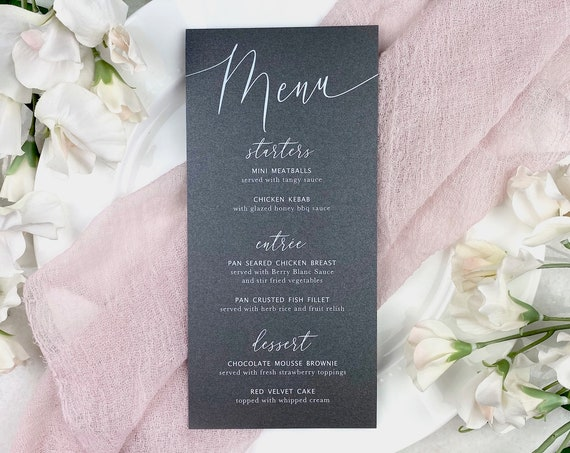 Grey Wedding Menu - White Ink on Grey Shimmer Card Stock - Custom Menu - Dinner Menu Card