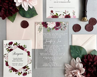 JENNIFER Acrylic Wedding Invitation - Clear Acrylic Invitation with White Ink and Burgundy and Blush Flowers - Thick Card Stock Envelopes