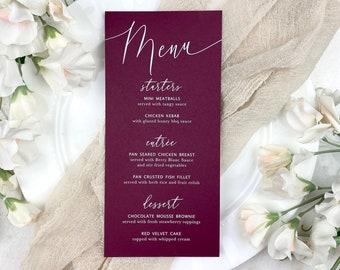Burgundy Wedding Menu - White Ink on Burgundy Card Stock - Custom Menu - Dinner Menu Card