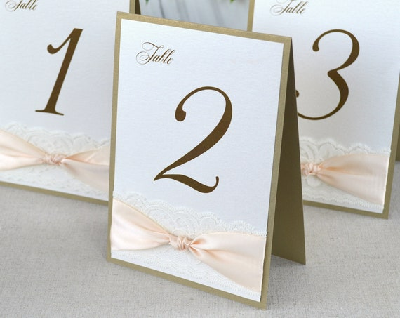 Knot and Lace Table Numbers - Wedding Table Number w/ Lace and Peach Blush Ribbon- Tented Table Number Card
