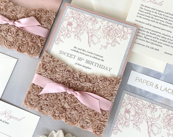 ROSETTE Pocket Sweet 16 Invitation - Rose Gold Pocket Invite with Champagne Rosettes, Silver Glitter and Pink Blush Satin Ribbon - Quince