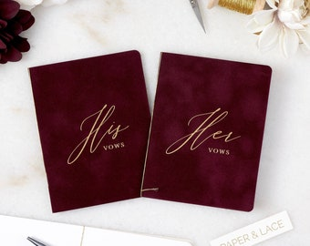 Wine Velvet Vow Books with Gold or Silver Foil for Wedding Ceremony - His Vows/Her Vows - Burgundy Suede Keepsake Book - Styled Shoot Sample