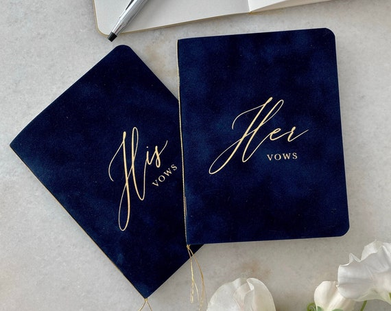 Navy Blue Velvet Vow Books with Gold Foil for Wedding Ceremony - His Vows / Her Vows - Navy Suede Keepsake Book - Styled Shoot Sample