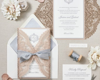 JESSICA - Chantilly Lace Laser Cut with Letterpress Invitation - Pearl White Card Stock with Nude Pink Laser Cut Wrap and Grey Silk Ribbon