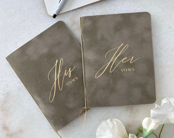 Mushroom Velvet Vow Books with Gold Foil for Wedding Ceremony - His Vows/Her Vows - Grey/Beige Suede Keepsake Book - Styled Shoot Sample