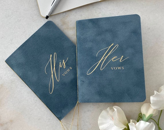 French Blue Velvet Vow Books with Gold Foil for Wedding Ceremony - His / Her Vows - Dusty Blue Suede Keepsake Book - Styled Shoot Sample