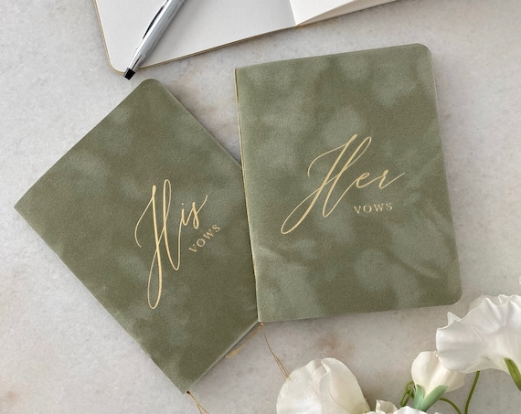 Sage Green Velvet Vow Books with Gold Foil for Wedding Ceremony - His Vows/Her Vows - Dusty Green Suede Keepsake Book - Styled Shoot Sample