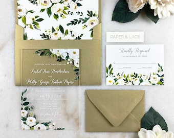 RACHEL Acrylic Wedding Invitation - Clear Invitation with White Rose, Green Leaves & White Ink- Thick Card Stock Envelope with Floral Liner