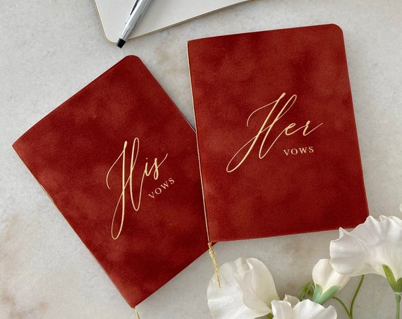 Rust Velvet Vow Books with Gold Foil for Wedding Ceremony - His Vows / Her Vows - Burnt Orange Suede Keepsake Book - Styled Shoot Sample