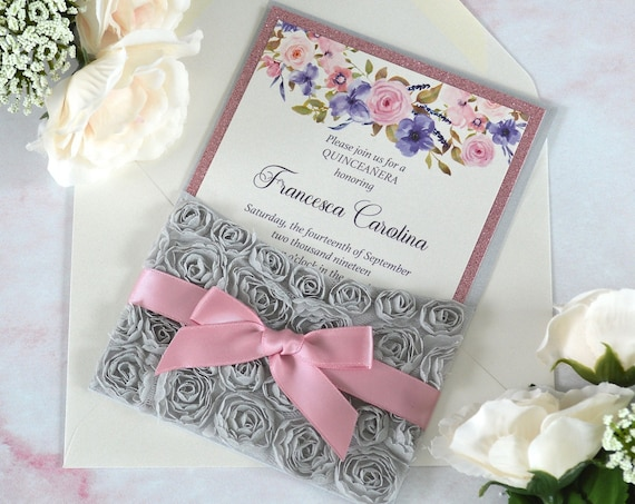 ROSETTE Pocket Quinceañera Invitation - Silver Pocket Invitation with Grey Rosettes, Pink Glitter and Satin Ribbon- Garden Roses - Sweet 16