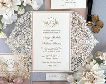 IVORY & BLUSH CHANTILLY Lace Laser Cut Wrap Invitation - Ivory Laser Cut Wedding Invitation with Blush Shimmer Border and Blush Satin Ribbon