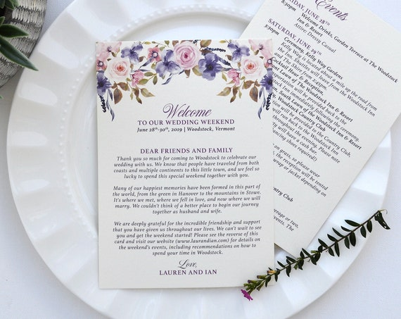 Wedding Weekend Welcome and Itinerary Cards with Lavender and Blush watercolor flowers - Custom Printed Cards
