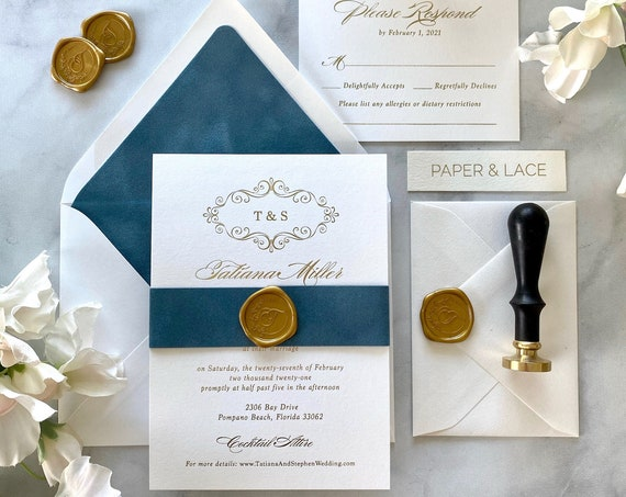 TATIANA- Gold Foil and Dusty Blue Wedding Invitation - French Blue Velvet Belly Band and Envelope Liner - Gold Foil Printing -Gold Wax Seal