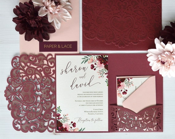 SHARON Trifold Laser Cut Pocket Invitation - Burgundy Shimmer Laser Cut Wedding Invitation Suite with Blush and Burgundy Florals