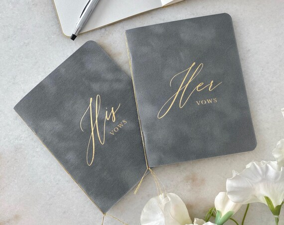 Chrome Velvet Vow Books with Gold Foil for Wedding Ceremony - His Vows/Her Vows - Grey Suede Keepsake Book - Styled Shoot Sample