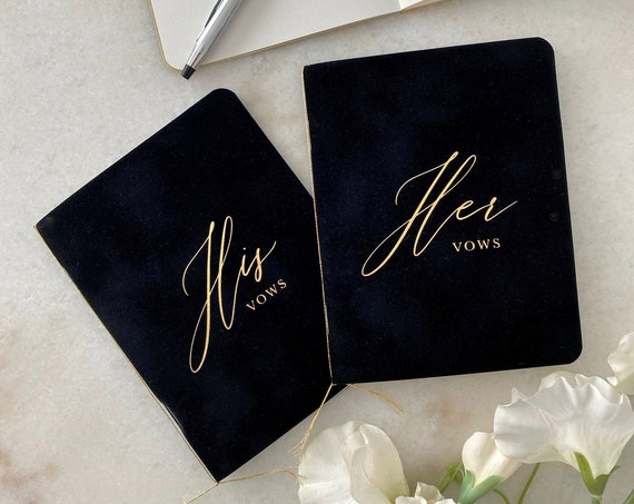 Black Velvet Vow Books with Gold Foil for Wedding Ceremony - His Vows / Her Vows - Black Suede Keepsake Book - Styled Shoot Sample