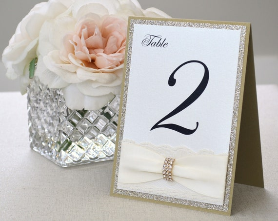 Gold and Ivory Lace Table Number for Elegant Wedding- Romantic Wedding Table Number with Lace and Gold Rhinestone Buckle - Lace Table Number